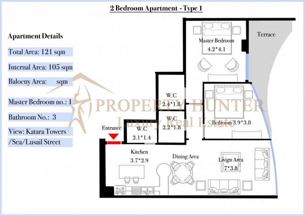 Residential Off Plan 2 Bedrooms F/F Apartment  for sale in Lusail , Doha-Qatar #7077 - 5  image
